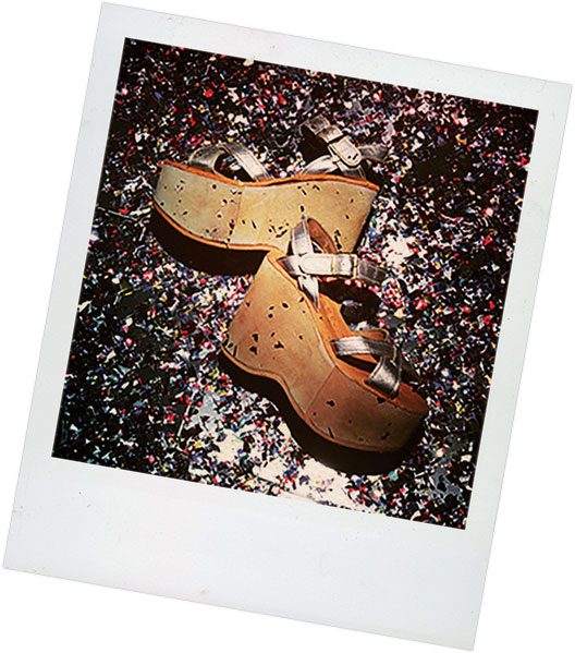 Polaroid of Kork-Ease platform sandal covered in glitter.